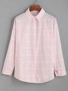 Blouse en grille à revers avec poche - rose