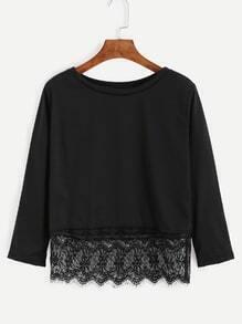 T-shirt col rond manche longue avec dentelle - noir