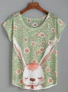 T-shirt imprimé lapin col rond manche courte - vert