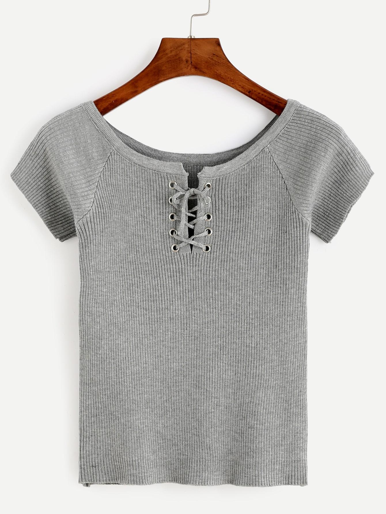 Heather Grey Eyelet Lace Up Ribbed T-shirt