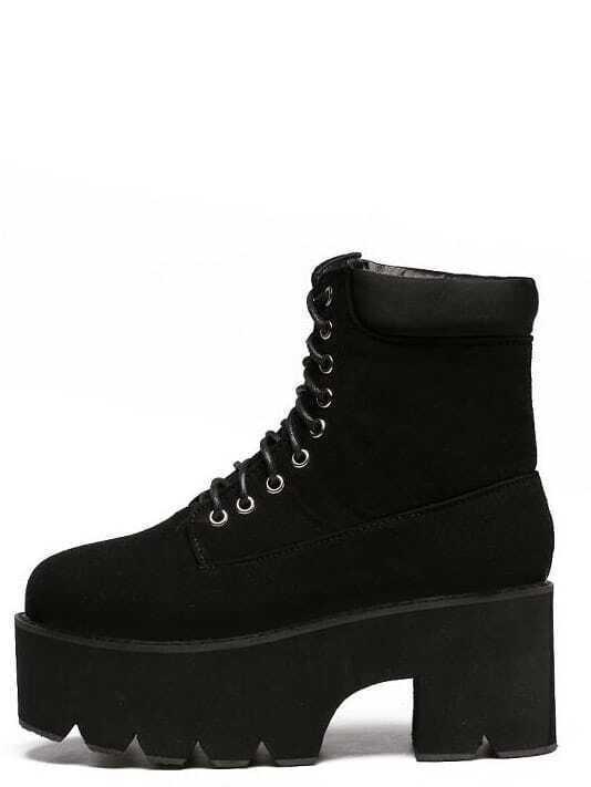 black faux suede lace up platform boots