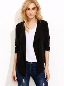 Black Drawstring Hem Waterfall Blazer