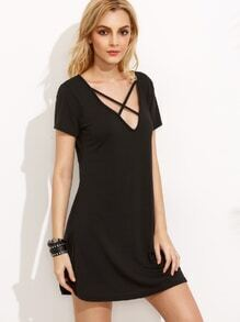 Black Deep V Neck Criss Cross Dress