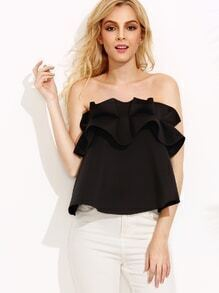 Black Bandeau Ruffle Zip Back Top