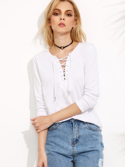White Lace Up Curved Hem T-shirt