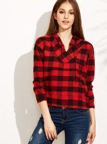 Sweat-shirt asymétrique à carreaux avec capuche - rouge