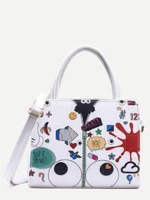 White Graffiti Print Structured Satchel Bag