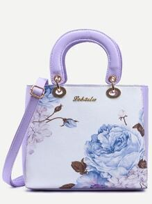 Contrast Flower Print Handbag With Strap