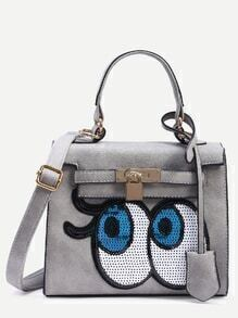 Grey Locked Strap Front Sequin Eye Satchel Bag