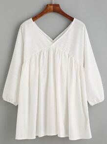 White Double V Neck Babydoll Blouse