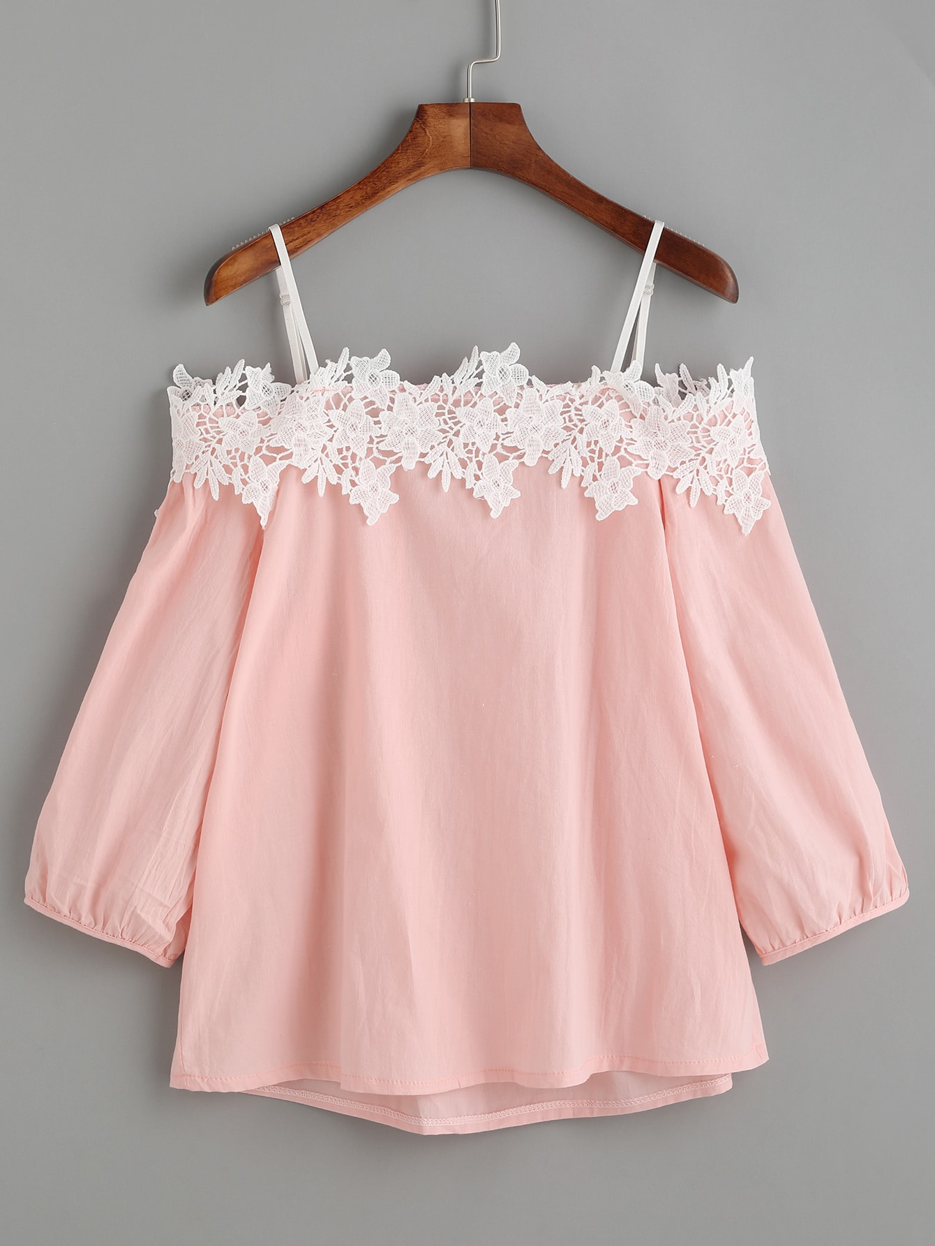 Pink Embroidered Lace Applique Cold Shoulder Blouse