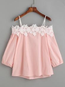 Bluse mit Stickereien und Spitzen Applikation - rosa