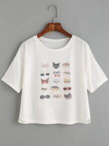 Camiseta hombro caído estampado gato - blanco