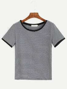 Contrast Striped Ringer T-shirt