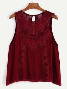 Burgundy Lace Insert Buttoned Keyhole Top