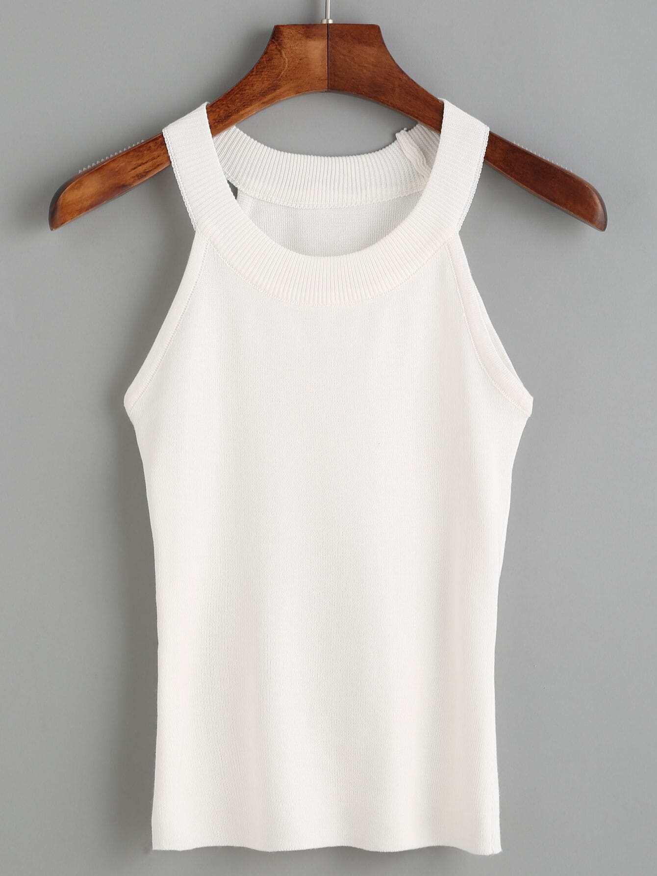 White Knit Halter Neck TopFor Women-romwe