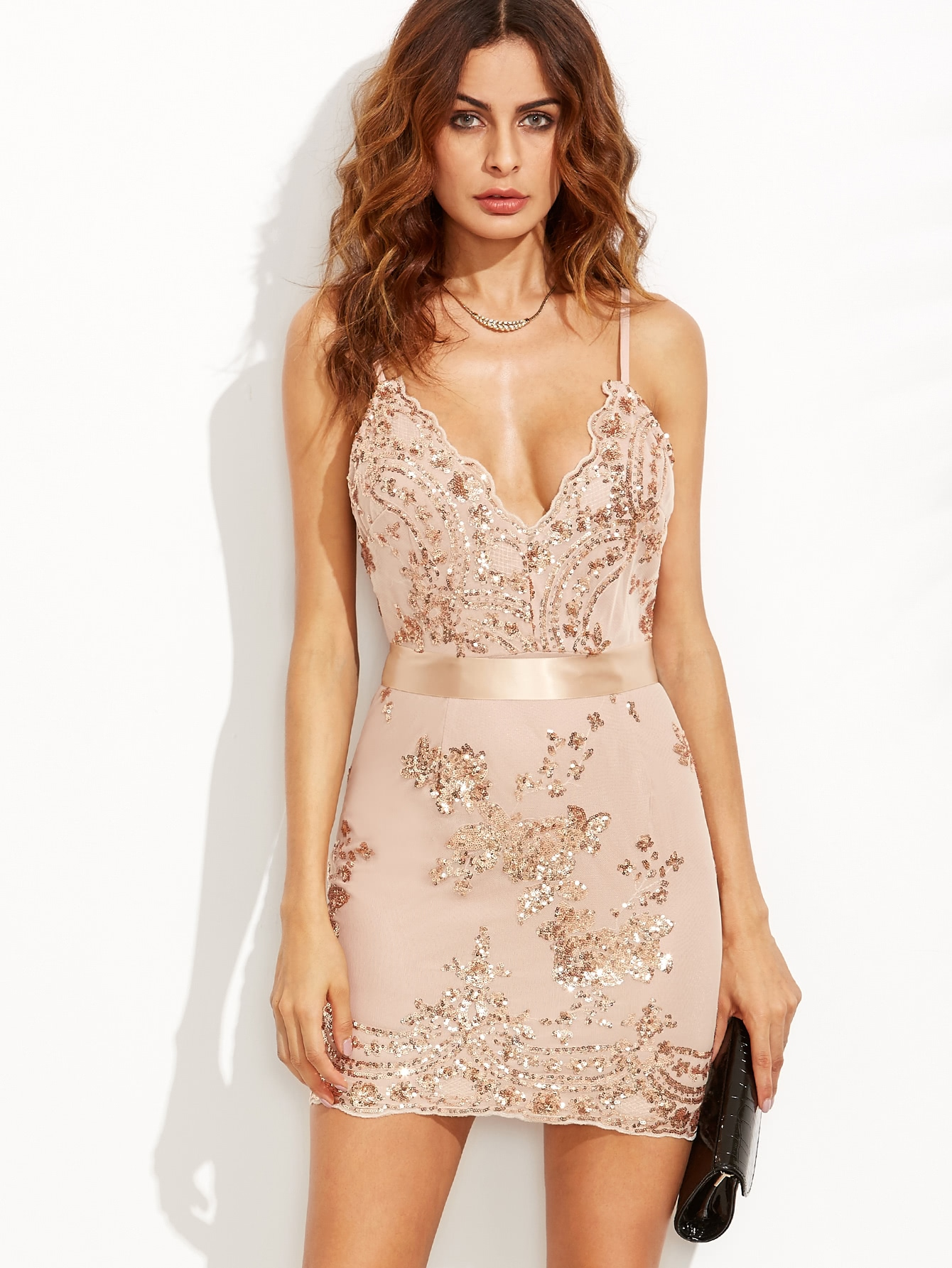 Gold Spaghetti Strap Open Back Sequins Bodycon Dress