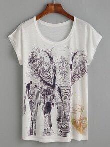 T-Shirt mit Elefant und Gebäude Druck - weiß