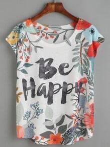 Camiseta floral letras - blanco
