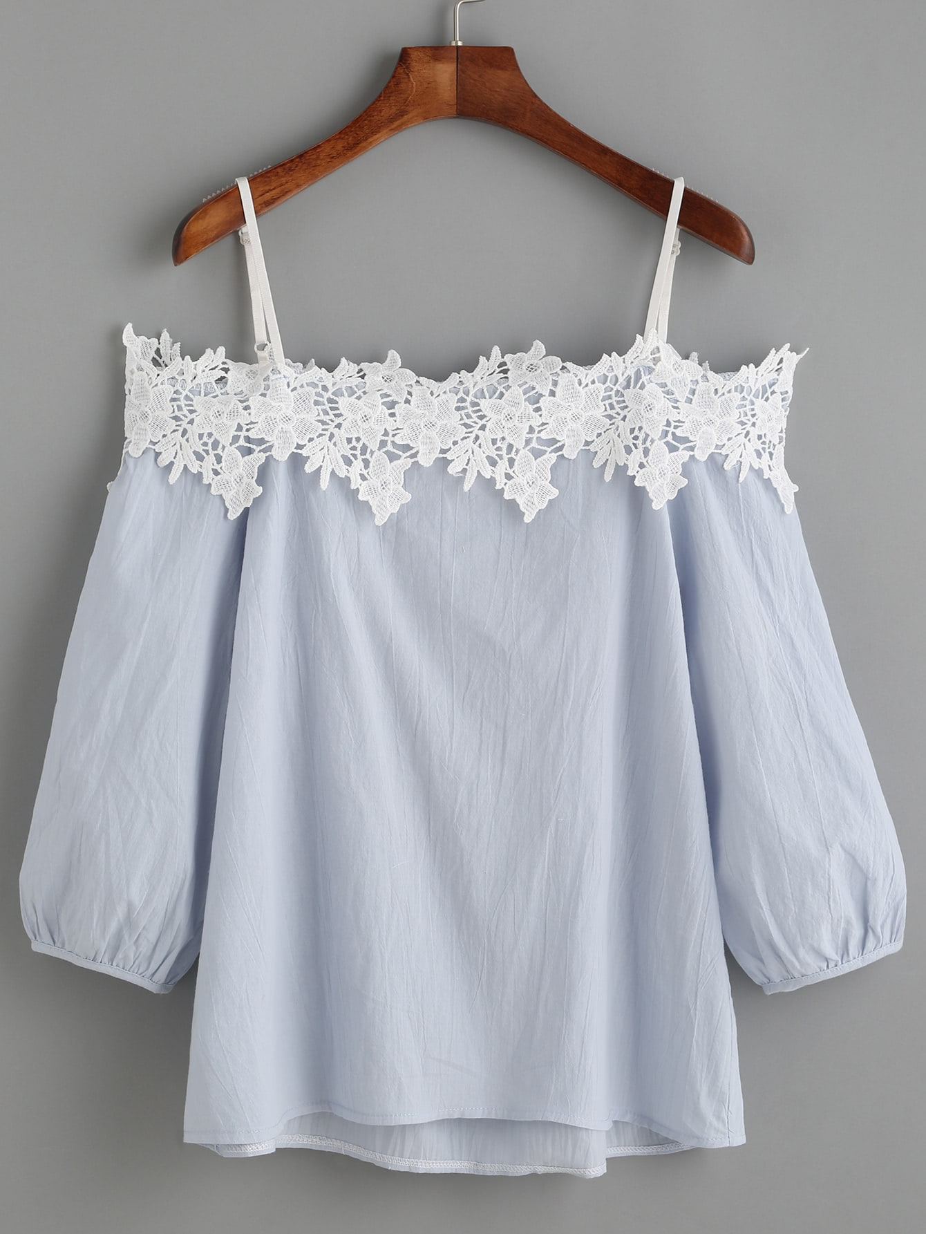 Light Blue Cold Shoulder Appliques Lantern Sleeve