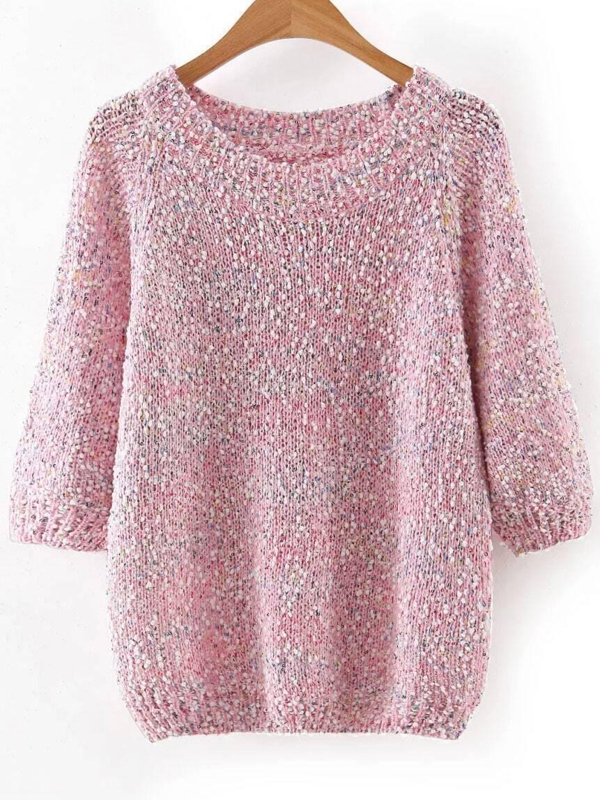 PinkRibbedTrimFleckSweater sweater160802204