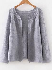 Grey Loose Fit Textured Cardigan