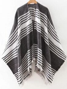 Black Stripe Frayed Poncho Scarf