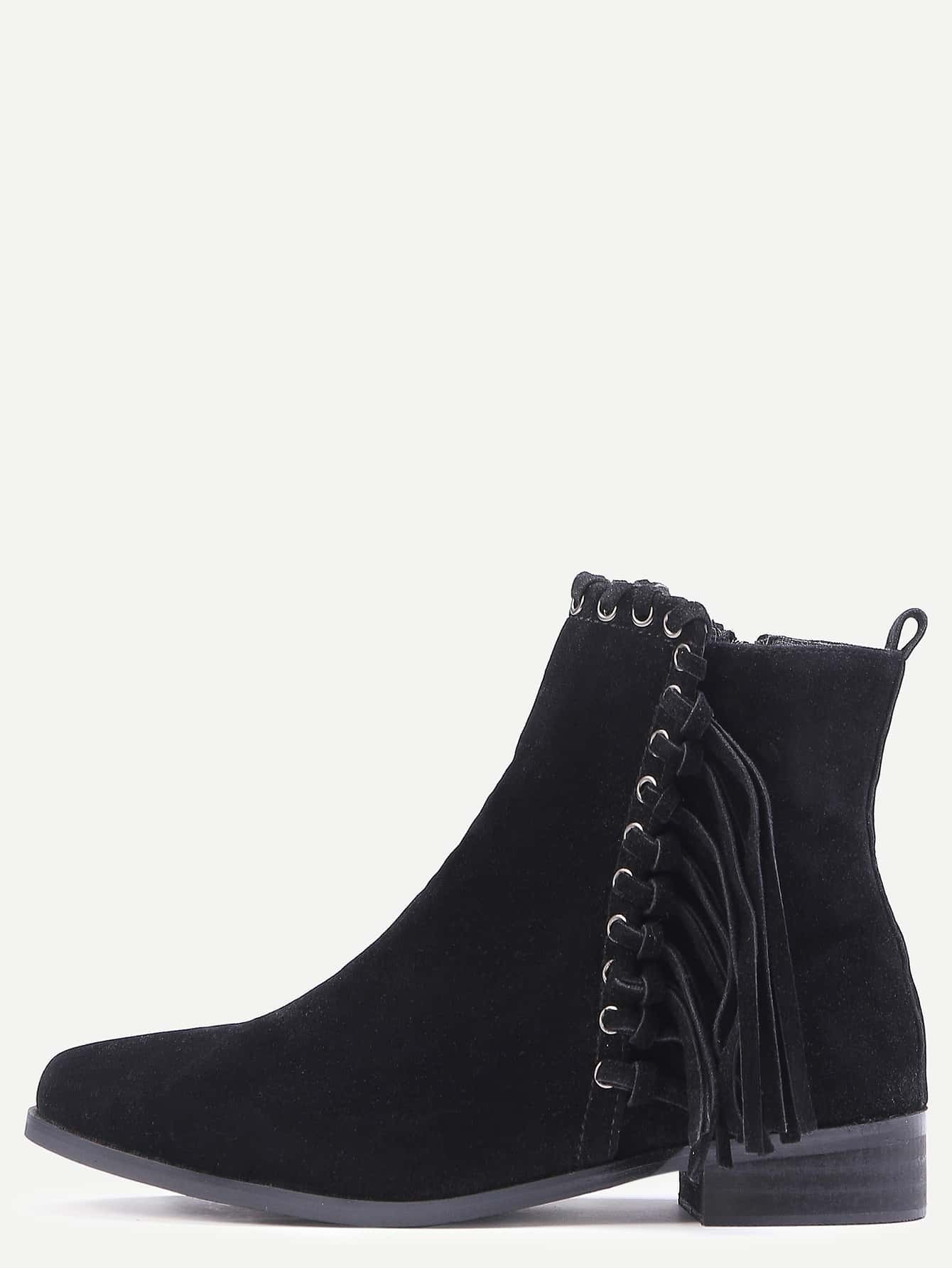 black faux suede whipstitch fringe boots