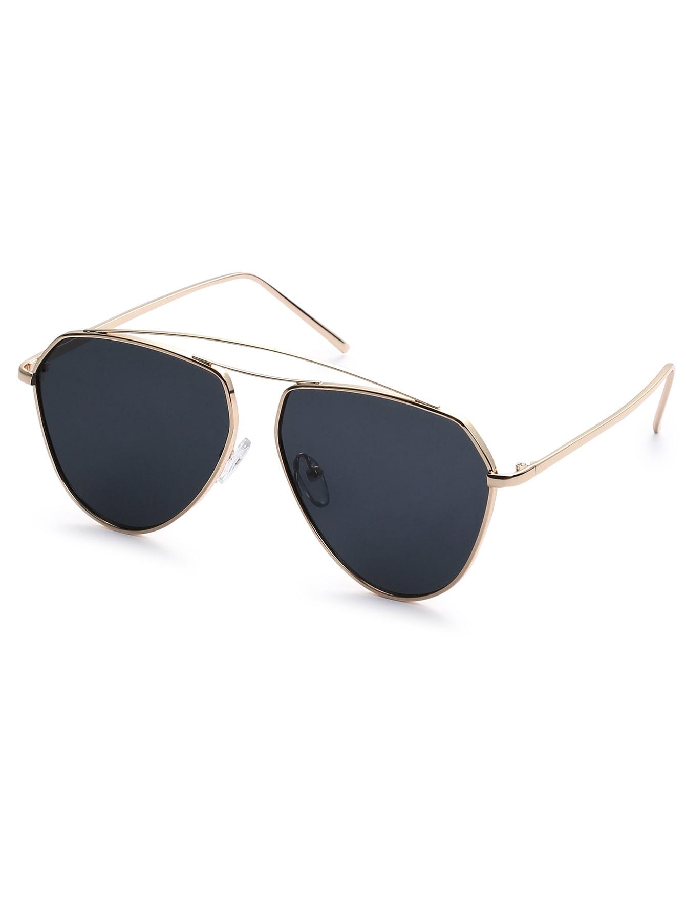 Golden Frame Black Sunglasses : Gold Metal Frame Black Lens Aviator Sunglasses