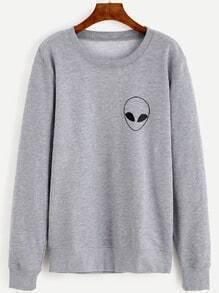 Sweat-shirt imprimé alien manche longue - gris