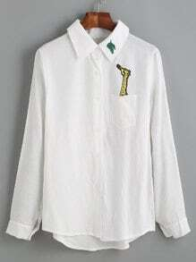 Blusa bajo asimétrico bordado jirafa manga larga - blanco