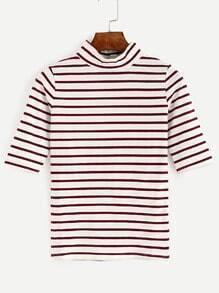 Camiseta cuello alto a rayas - borgoña