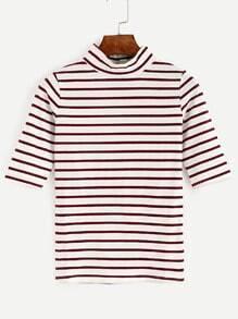 Burgundy Striped High Neck T-shirt