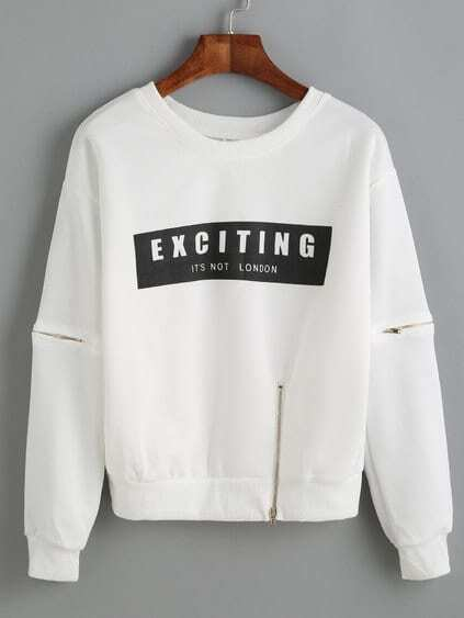 White Letter Print Zip Detail Sweatshirt