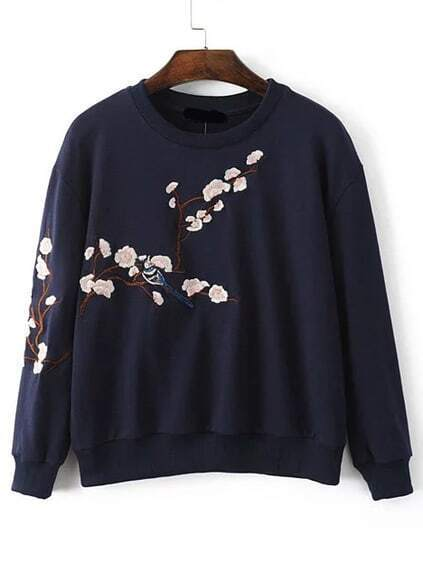 Navy Flower Embroidery Drop Shoulder Sweatshirt