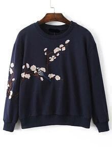 Sudadera hombro caído bordado floral - marino