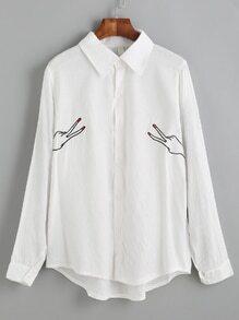 Blusa bajo asimétrico bordado - blanco