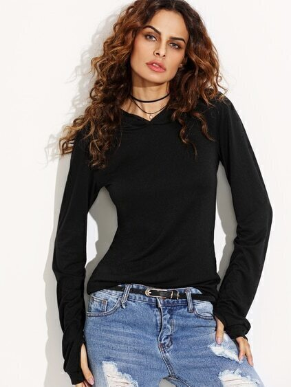 Black Hooded T-shirt With Thumb Holes