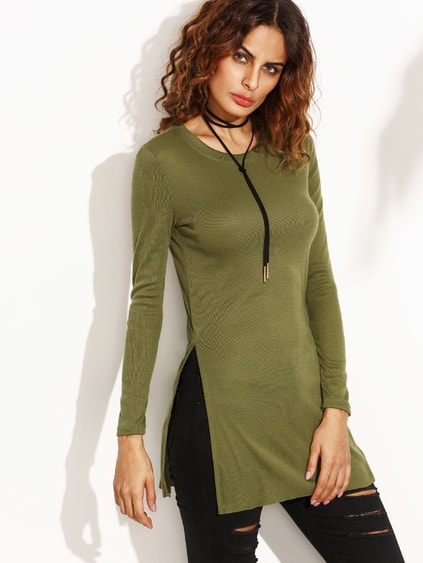 Green Split Side T-shirt