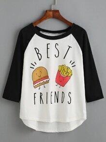 T-shirt imprimé manche raglan - blanc