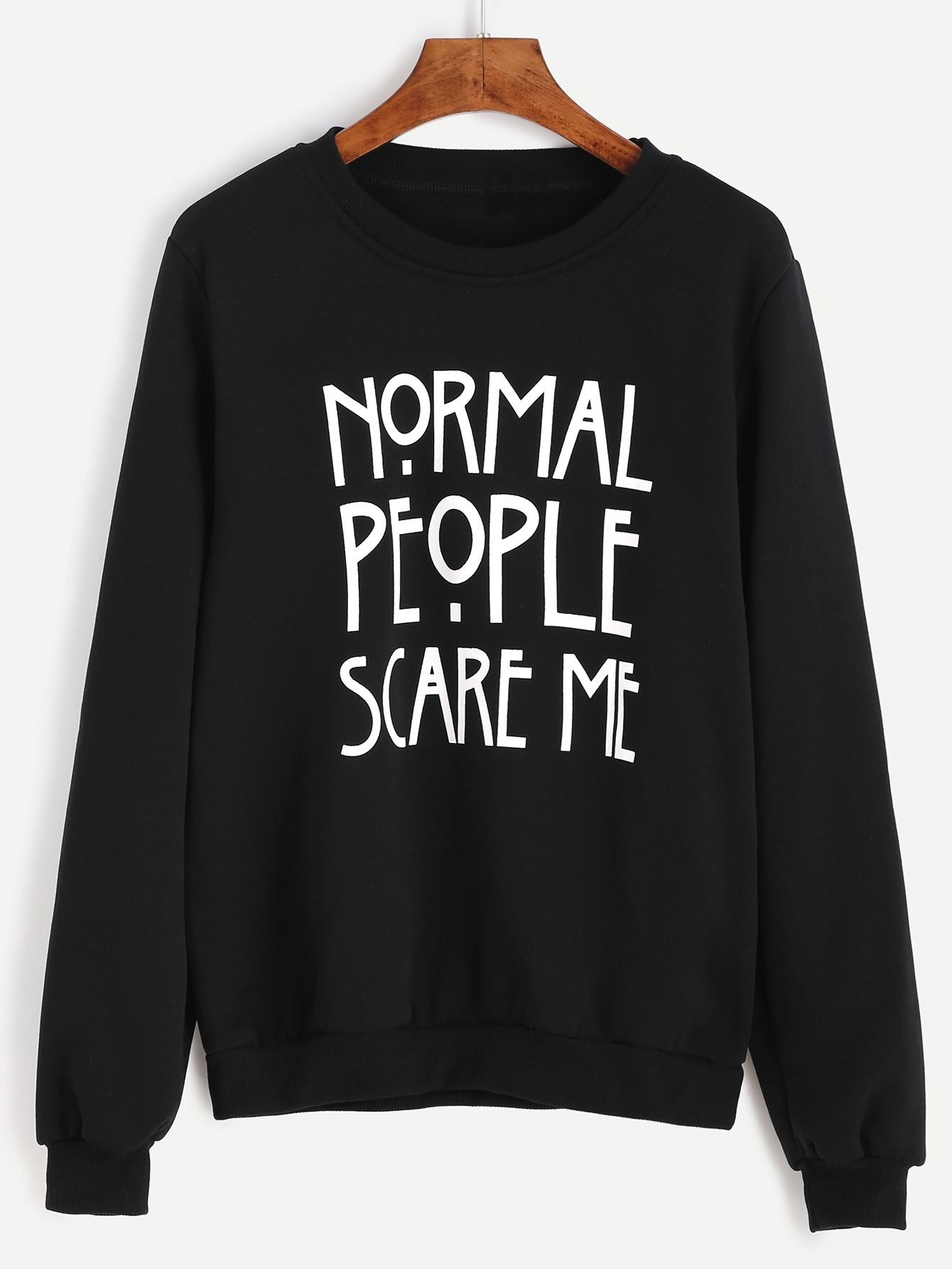 Black letter print sweatshirtfor women romwe for Letters for sweatshirts