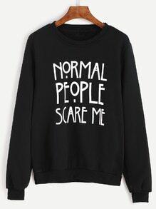 Sweatshirt mit Buchstaben Druck - schwarz