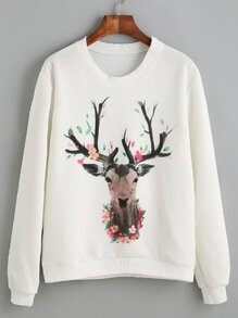 White Deer Print Sweatshirt