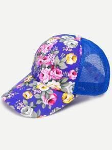 Floral Print Front Blue Mesh Snapback Baseball Cap