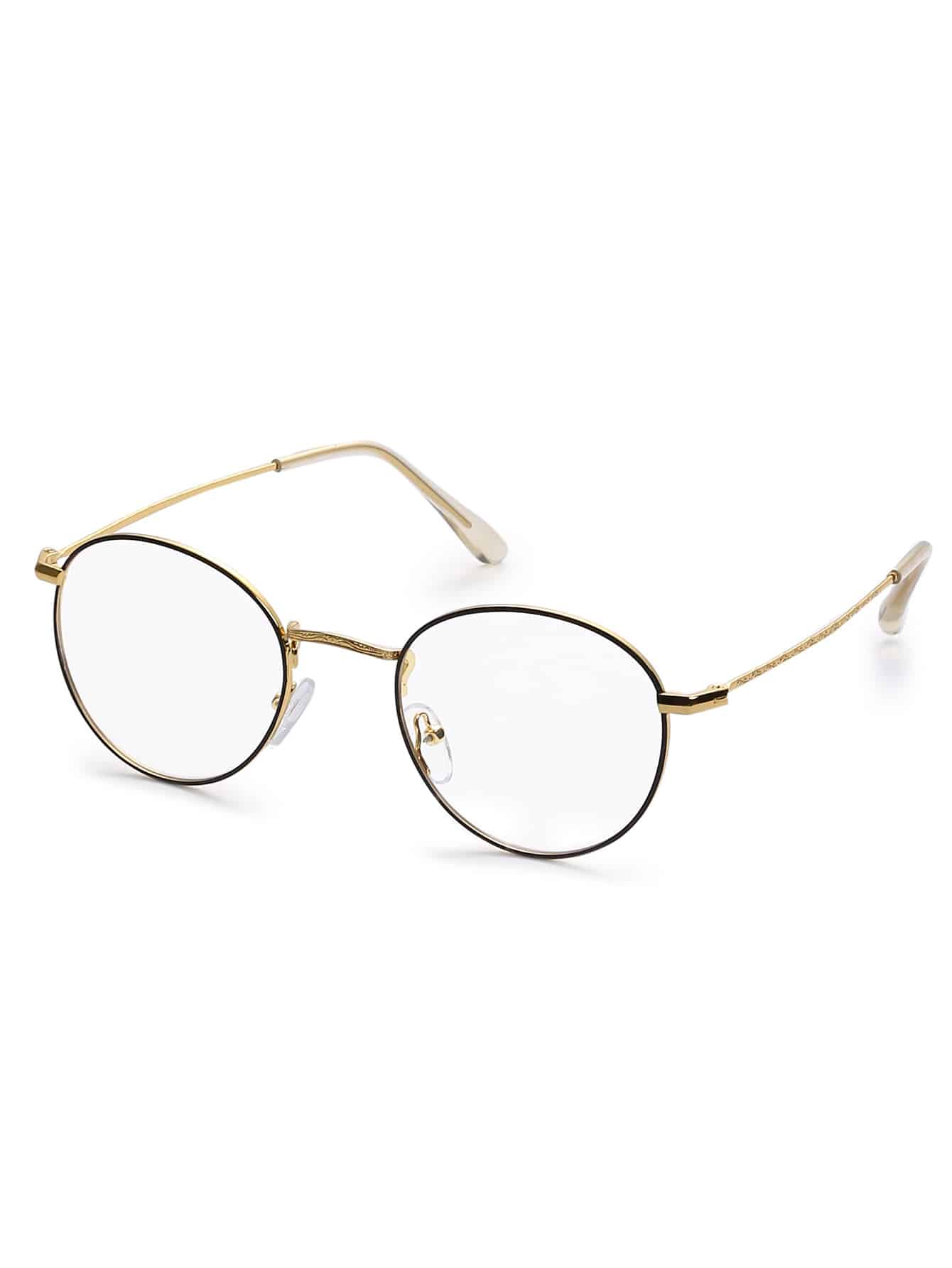 Gold Metal Frame Round Clear Lens Glasses
