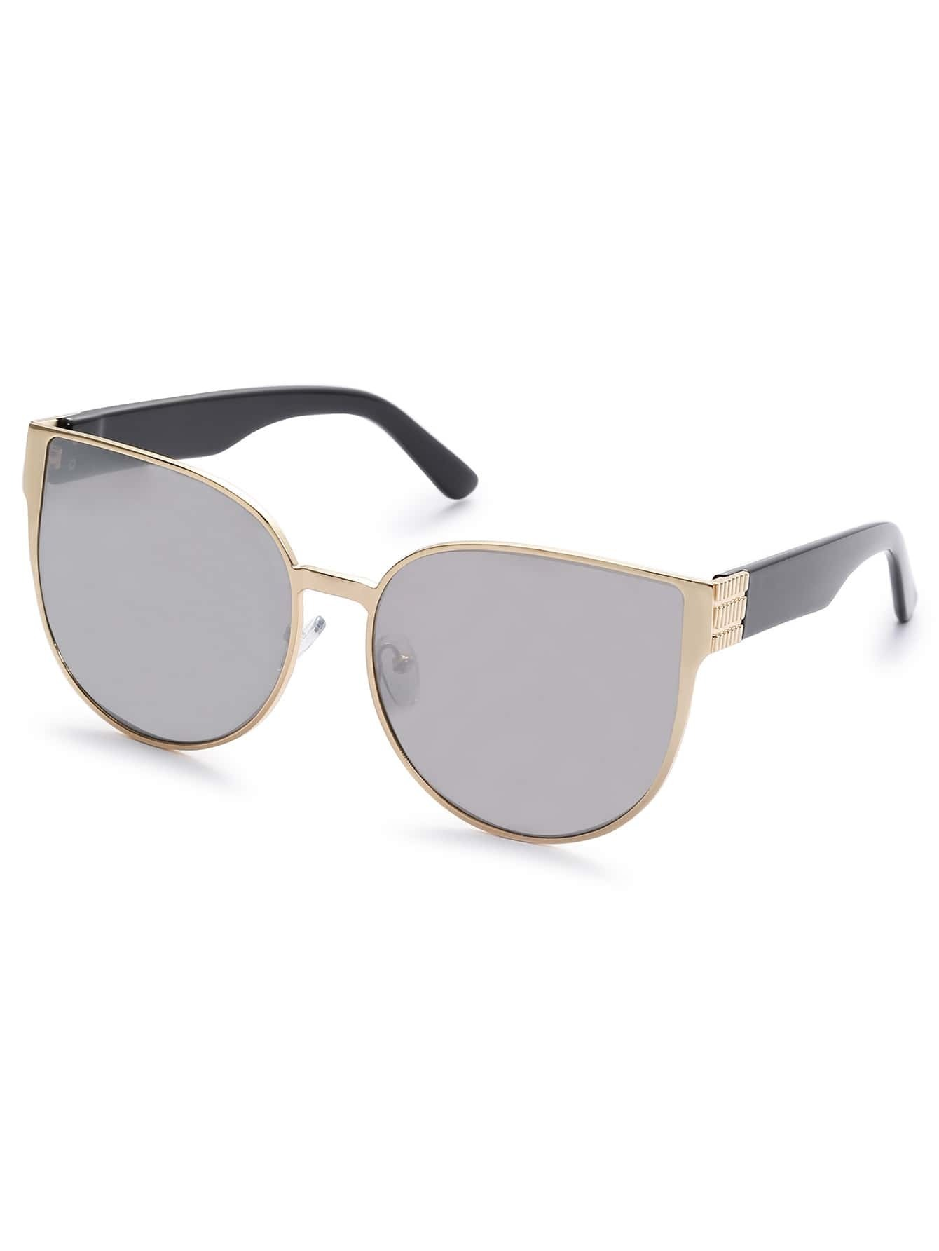 Gold Metal Frame Grey Vintage Cat Eye Sunglasses