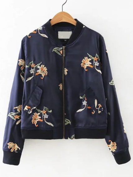 Navy floral embroidered bomber jacket with pocketsfor