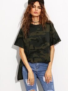 Camo Print Ripped High Low T-shirt