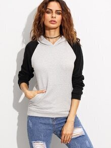 Grey Contrast Raglan Sleeve Hooded Sweatshirt