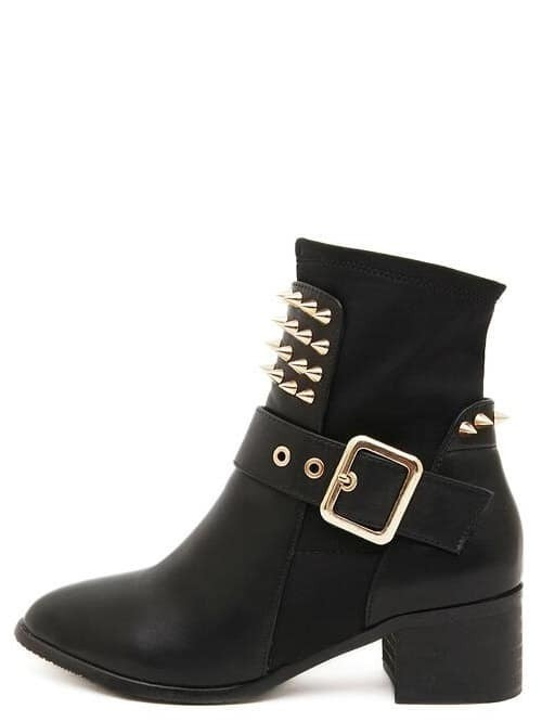 black faux leather spiked buckle chunky heel boots